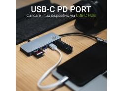 Docking Station, adattatore HUB USB-C HDMI Green Cell - 7 porte per MacBook Pro, Dell XPS, Lenovo X1 Carbon e altri