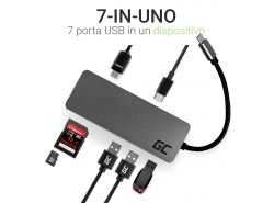 Docking Station, adattatore HUB USB-C HDMI Green Cell - 7 porte per MacBook Pro, Dell XPS, Lenovo X1 Carbon e altri