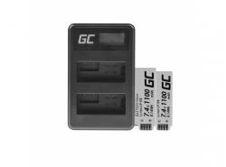 Green Cell ® 2x Batteria LP-E8 e Caricabatterie LC-E8 per Canon Rebel T2i, T5i, EOS 600D, 550D, 650D, 700D, Kiss X5, X4, X6