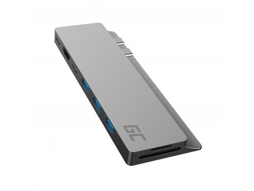 Adattatore HUB Green Cell GC Connect60 8in1 (Thunderbolt 3, USB-C, HDMI, 3x USB 3.0, SD, microSD) per MacBook Pro 13/15 2016-20
