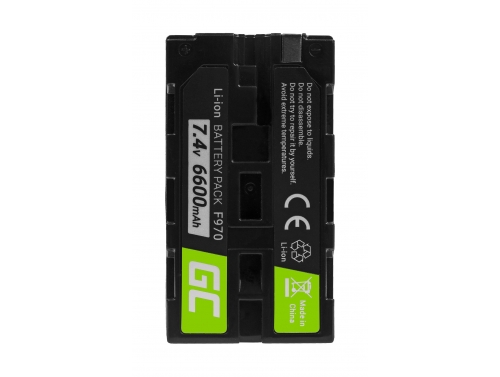 Batteria Green Cell ® NP-F550 NP-F750 NP-F530 per Sony MVC FDR3E FD200 DCR TRV120E VX2100 TRV320E HDR-FX1 7.4V 6600mAh