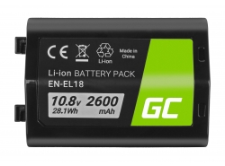 Batteria Green Cell ® EN-EL18 ENEL18 per fotocamera Nikon D4 D4S D5 D800 D810 Full Decoded, 10.8V 2600mAh