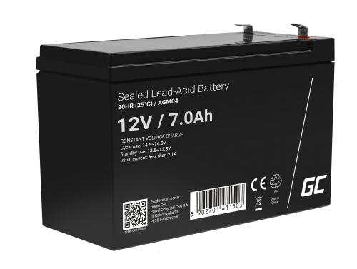 AGM Battery al piombo 12V 7Ah Ricaricabile Green Cell per UPS e sistemi di emergenza
