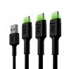Set 3 cavi USB Green Cell GC Ray - USB-C 200 cm, LED verde, ricarica rapida Ultra Charge, QC 3.0