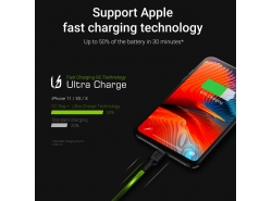 Set 3x Green Cell GC Ray Lightning Cable 30cm, 120cm, 200cm with white LED backlight, fast charging Apple 2.4A