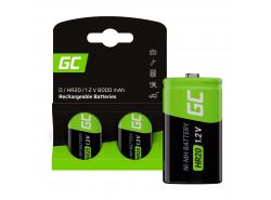 Batteria 2x D R20 HR20 Ni-MH 1.2V 8000mAh Green Cell