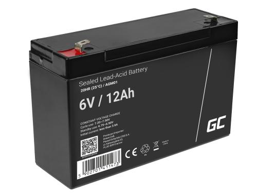 Green Cell®  Batteria AGM 6V 12Ah accumulatore sigillata giocattoli per bambini Installazioni di allarme
