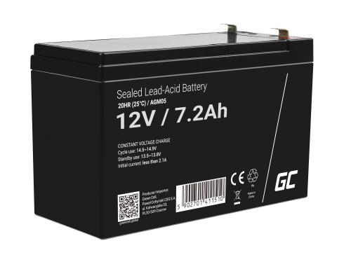 Green Cell®  Batteria AGM 12V 7.2Ah accumulatore sigillata giocattoli per bambini Installazioni di allarme