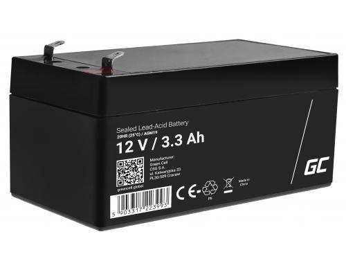 Green Cell®  Batteria AGM 12V 3.3Ah accumulatore sigillata giocattoli per bambini Installazioni di allarme