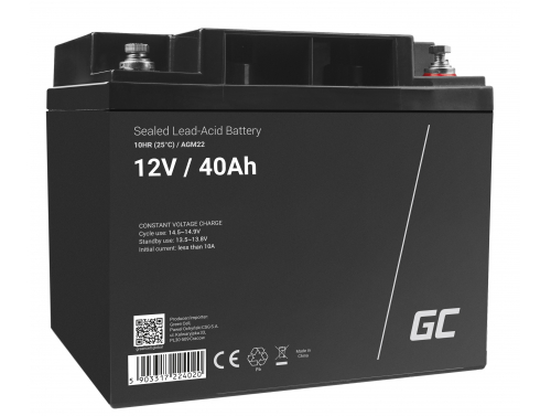 Green Cell®  Batteria AGM 12V 40Ah accumulatore sigillata falciatrice Scooter Peschereccio Trattorino