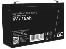 AGM Battery al piombo 6V 15Ah Ricaricabile Green Cell per allarme e illuminazione