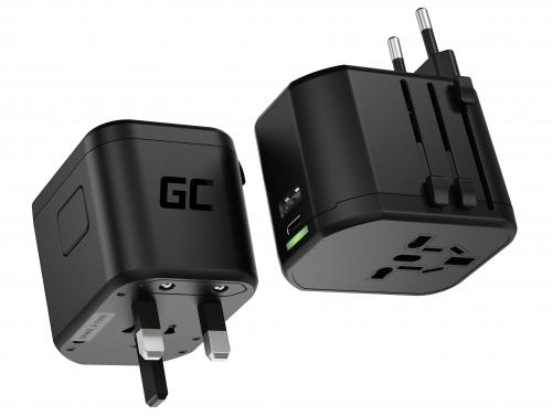 Green Cell GC TripCharge PRO Adattatore da Viaggio Universale con USB-A Ultra Charge e USB-C Power Delivery 18W per UK/US/AU/EU