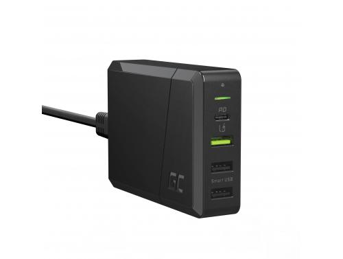 Green Cell Power Source 75W 4-Port Caricabatterie con USB-C PD per la ricarica di Ultrabook e tecnologia Ultra Charge