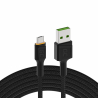 Cavo USB Green Cell GC Ray - Micro USB 120 cm, LED arancione, ricarica rapida Ultra Charge, QC3.0