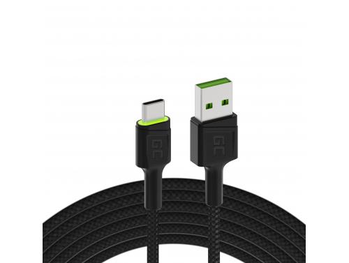 Cavo USB Green Cell GC Ray - USB-C 200 cm, LED verde, ricarica rapida Ultra Charge, QC 3.0