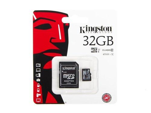 Scheda di memoria Kingston 32GB microSD 45MB/s + adattatore SD