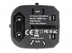 Adattatore da viaggio universale Green Cell ® con due porte USB per prese elettriche USA / UK / AUS / Cina