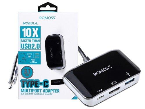 Adattatore HUB Romoss con USB-C per HDMI 4K, USB-A 3.0, USB-C